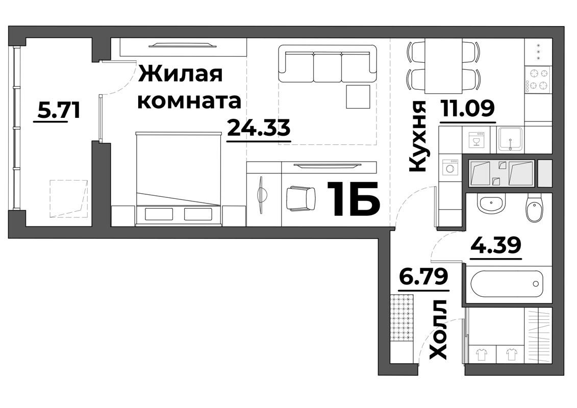 """Студия 52,31 кв.м. (ЖК """"Grand Park"""")"""