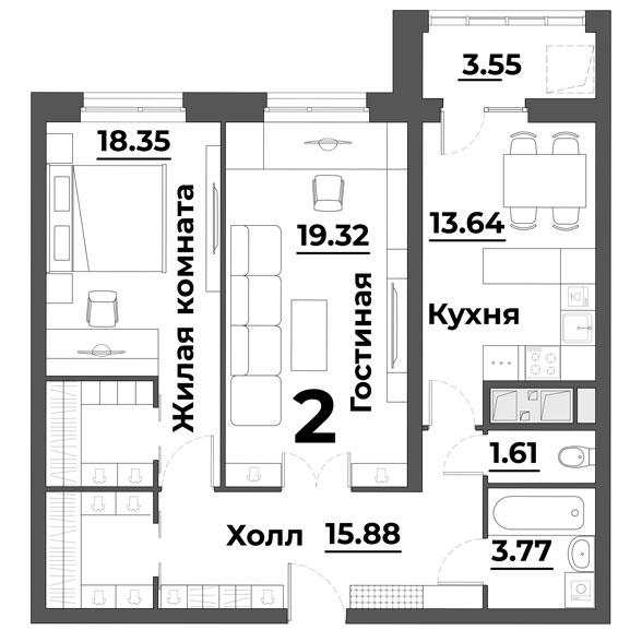 """2 комнатная 76,12 кв.м. (ЖК """"Grand Park"""")"""