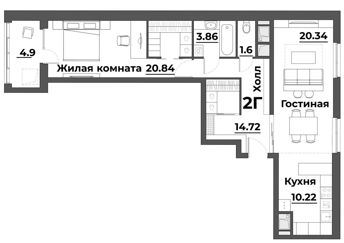 """2 комнатная 76,48 кв.м. (ЖК """"Grand Park"""")"""