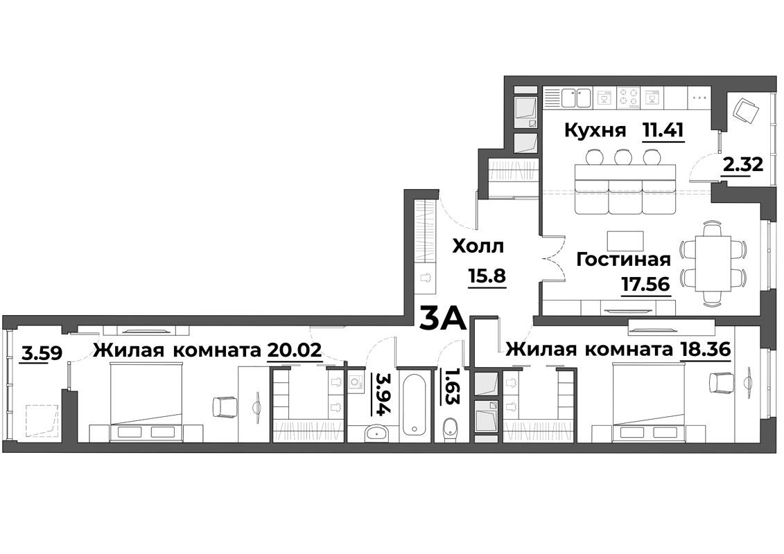 """3 комнатная 94,63 кв.м. (ЖК """"Grand Park"""")"""