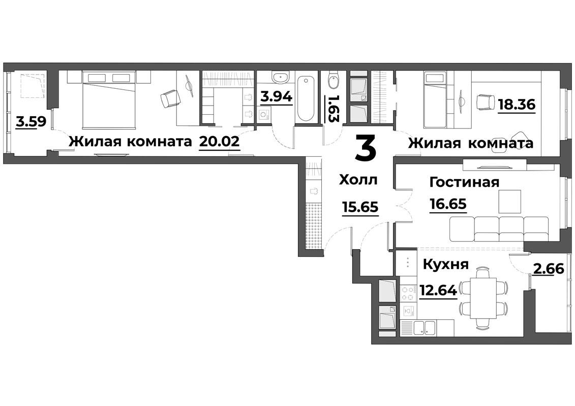 """3 комнатная 95,14 кв.м. (ЖК """"Grand Park"""")"""