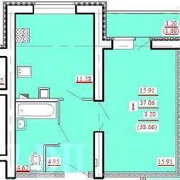 "1 комнатная 38,66 кв.м. (ЖК ""Лукоморье"")"