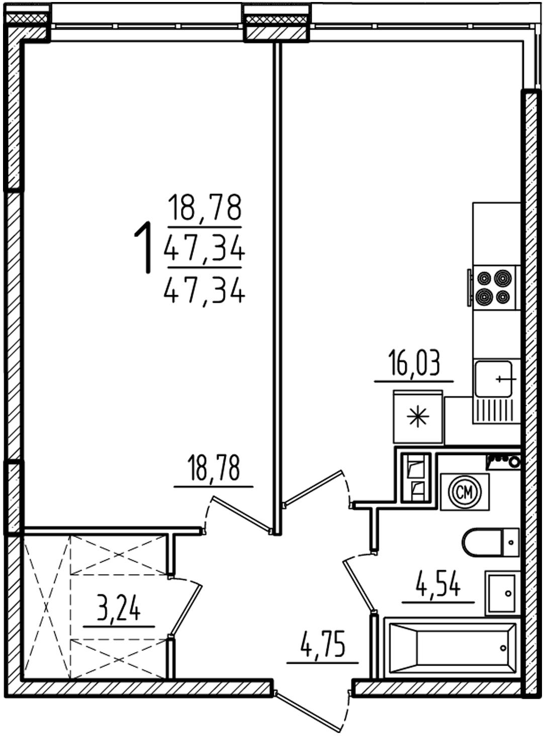 """1 комнатная 47,34 кв. м. (ЖК """"Barton House"""")"""