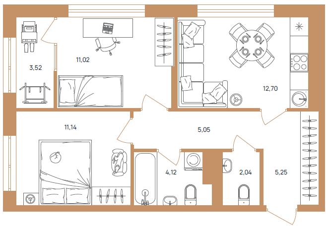 """2 комнатная 54,84 кв.м. (ЖК """"Upgrade"""""""")"""