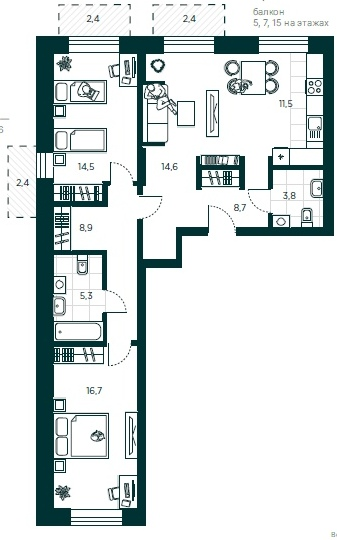 "3 комнатная 87,5 кв.м. (ЖК ""Зеландия"")"