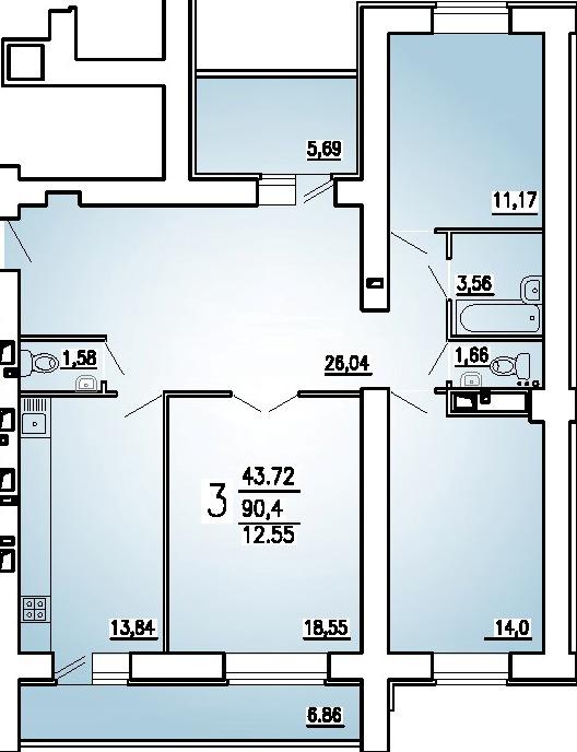 """3 комнатная 96,67 кв.м. (ЖК """"На Стрельбищенской"""")"""