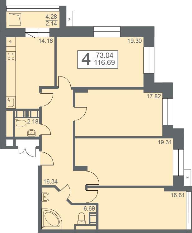 """4 комнатная 116,69 кв.м. (ЖК """"Созвездие"""")"""