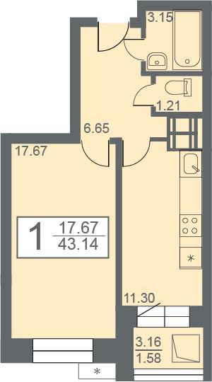 """1 комнатная 43,14 кв.м. (ЖК """"Созвездие"""")"""