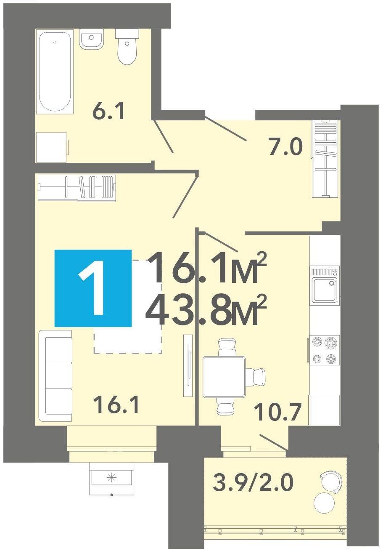 """1 комнатная 43,8 кв.м. (ЖК """"Созвездие"""")"""