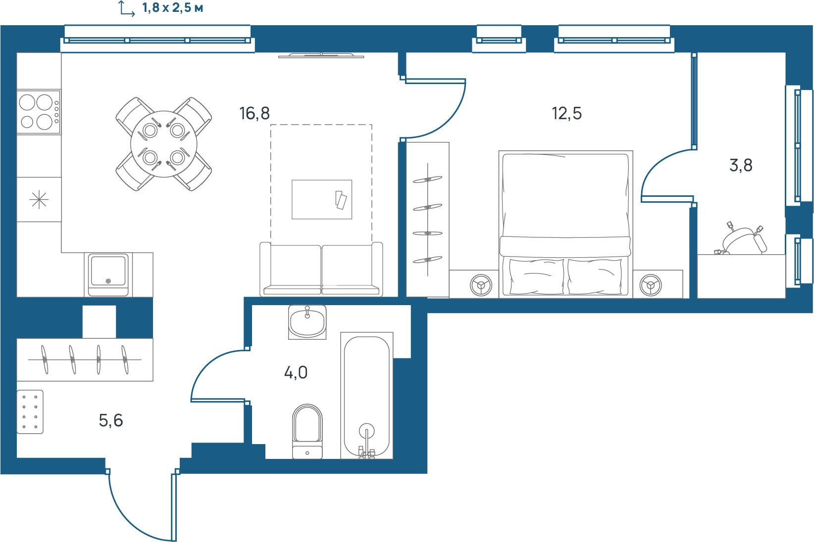 """1 комнатная 42,7 кв.м. (ЖК """"Upgrade"""")"""