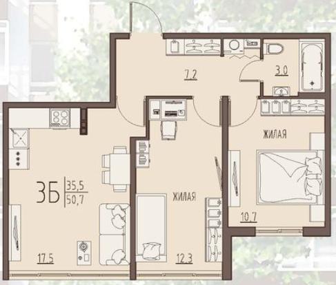 """2 комнатная 50,7 кв.м. (ЖК """"Второе дыхание"""")"""
