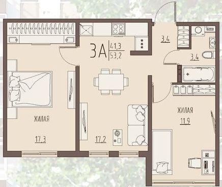 """2 комнатная 53,2 кв.м. (ЖК """"Второе дыхание"""")"""