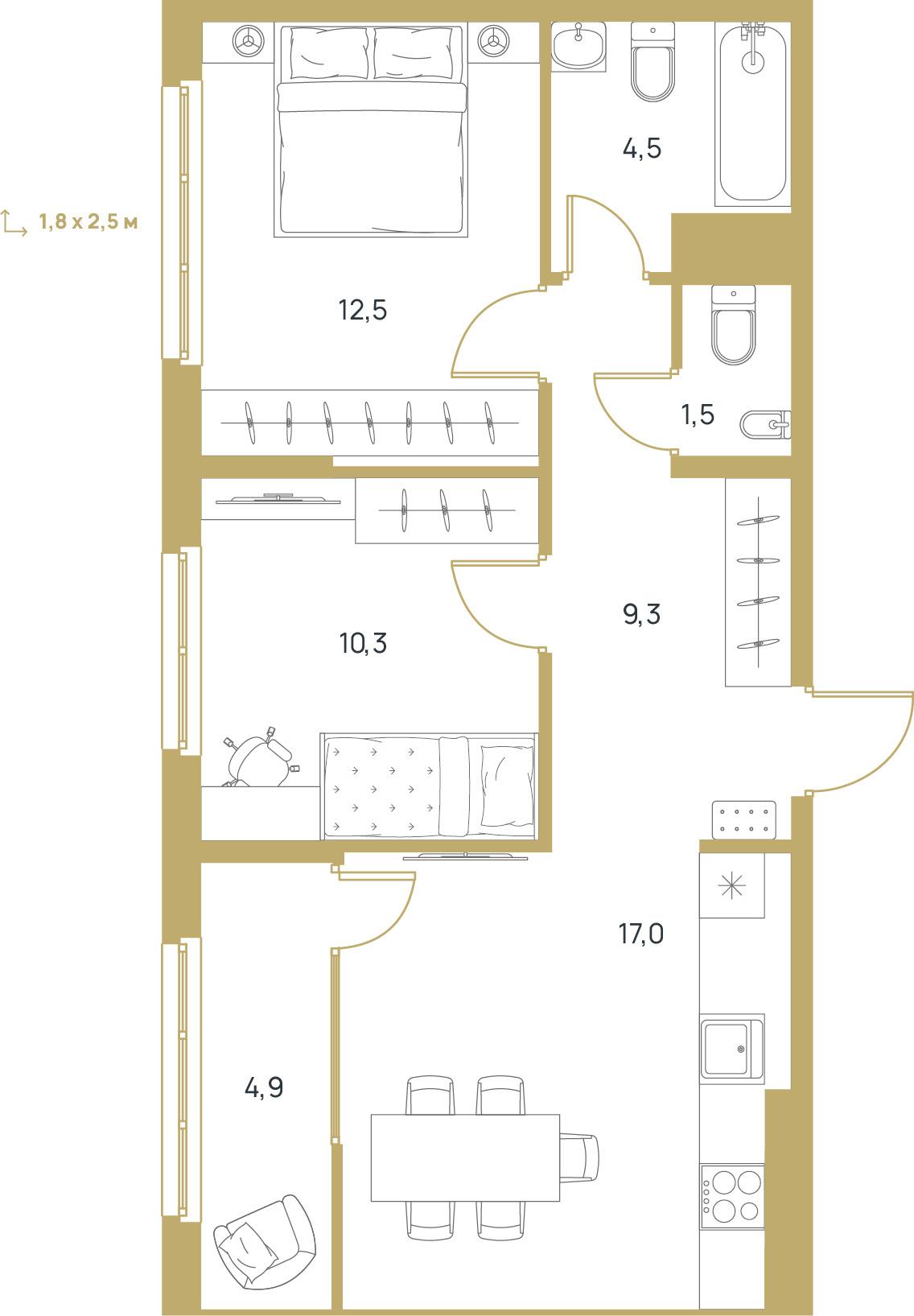 """2 комнатная 60 кв.м. (ЖК """"Upgrade"""")"""