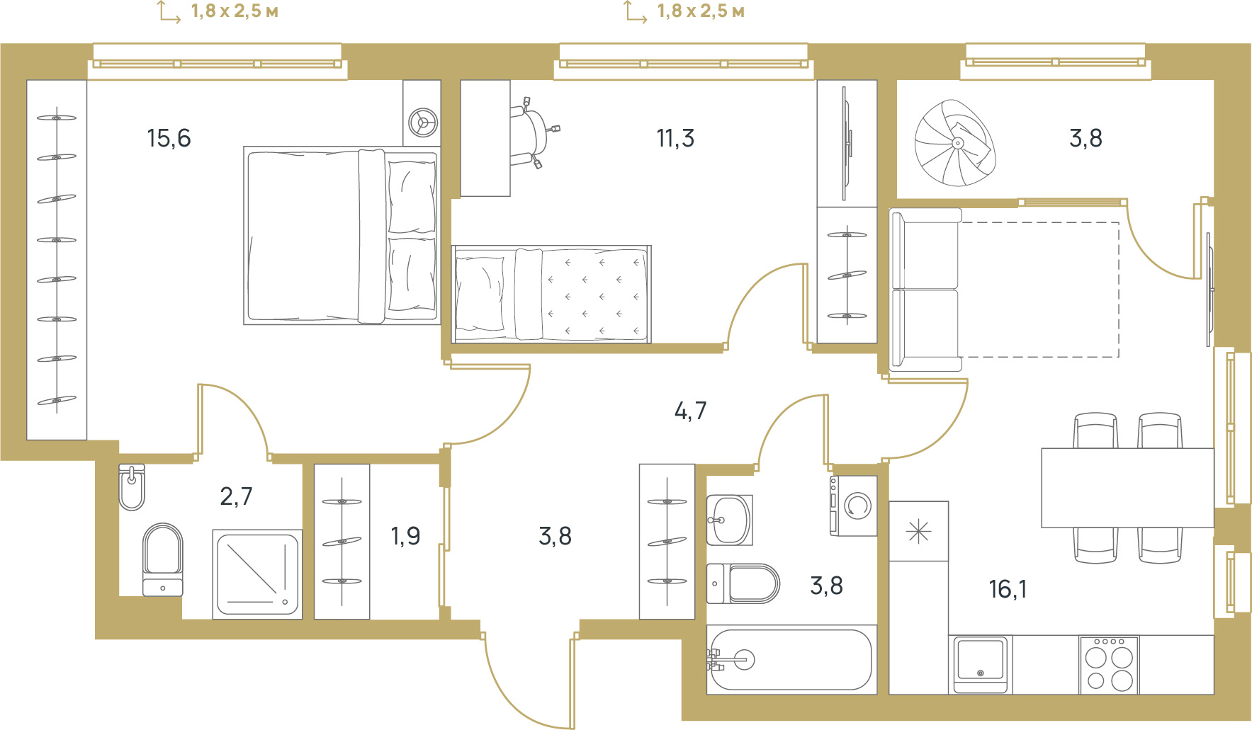 """2 комнатная 63,7 кв.м. (ЖК """"Upgrade"""")"""