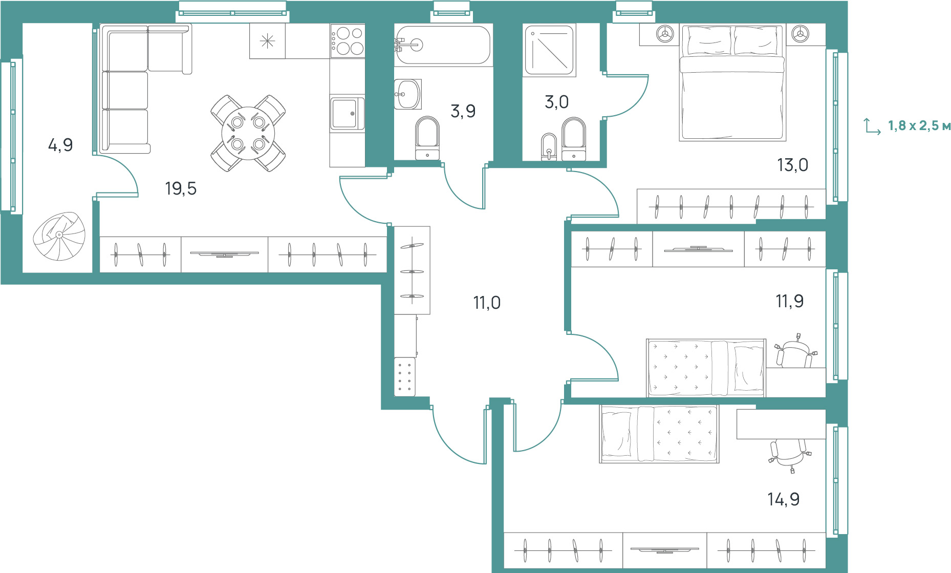"""3 комнатная 82,1 кв.м. (ЖК """"Upgrade"""")"""