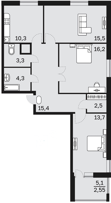 """3 комнатная 83,75 кв.м. (ЖК """"Окружная 16"""")"""
