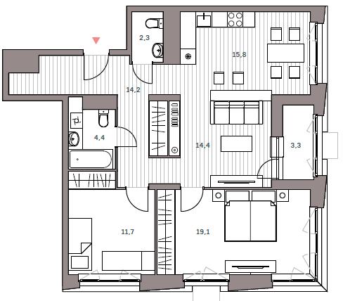 """3 комнатная 85,2 кв.м. (ЖК """"Континент"""")"""