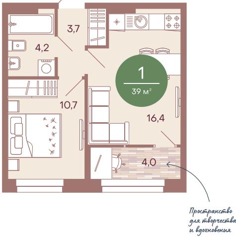 "1 комнатная 39 кв.м. (ЖК ""NorWood"")"