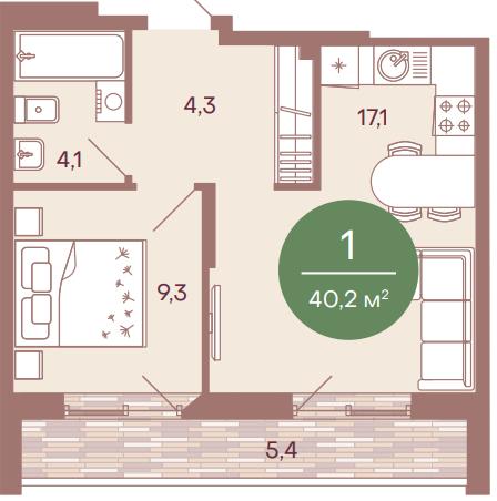 "1 комнатная 40,2 кв.м. (ЖК ""NorWood"")"