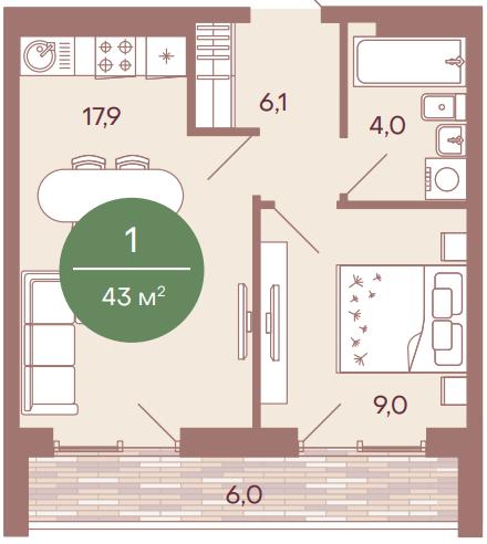 "1 комнатная 43 кв.м. (ЖК ""NorWood"")"
