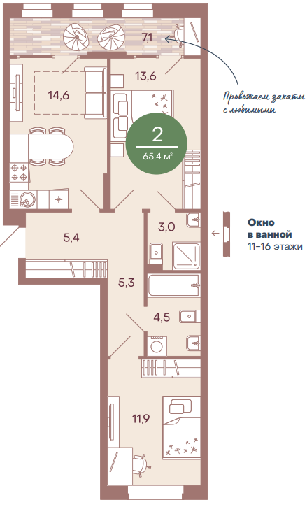 "2 комнатная 65,4 кв.м. (ЖК ""NorWood"")"